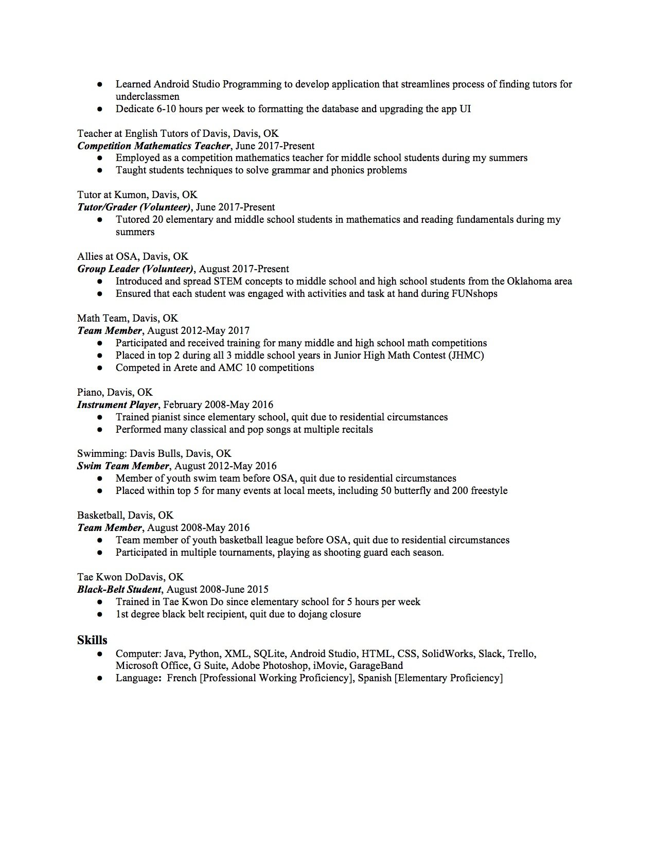 High School Resume Template 2 Part 2