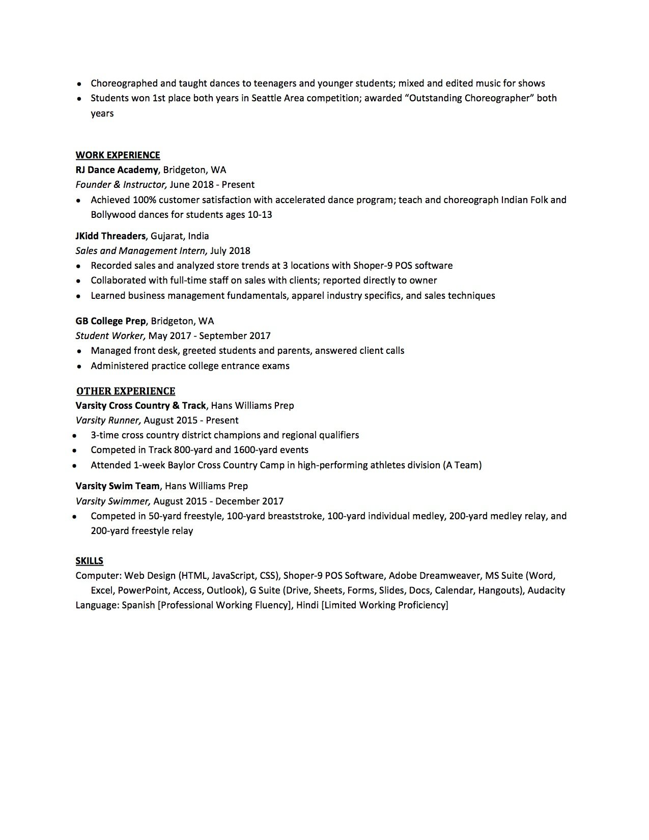High School Resume Template 3 Part 3
