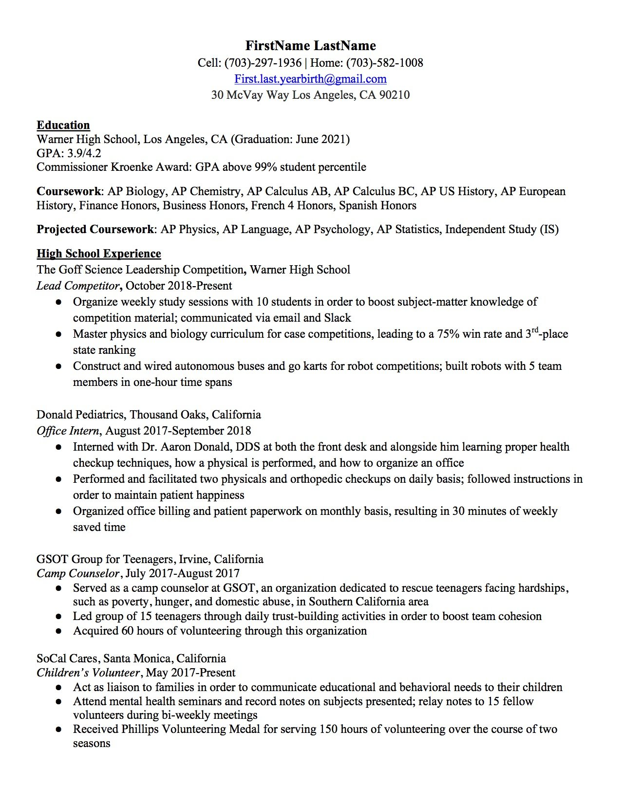 high school resume