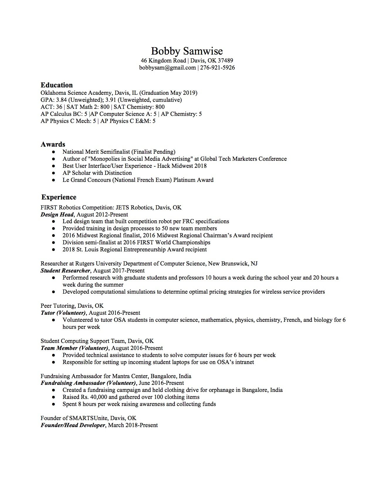high school resume template 2